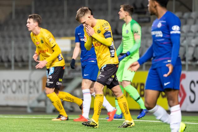 Elfsborgs Tim Stålheden deppar efter missad målchans under den första matchen mot Chelsea i UEFA Youth League  Foto: Jörgen Jarnberger / BILDBYRÅN / Kod JJ / Cop 112